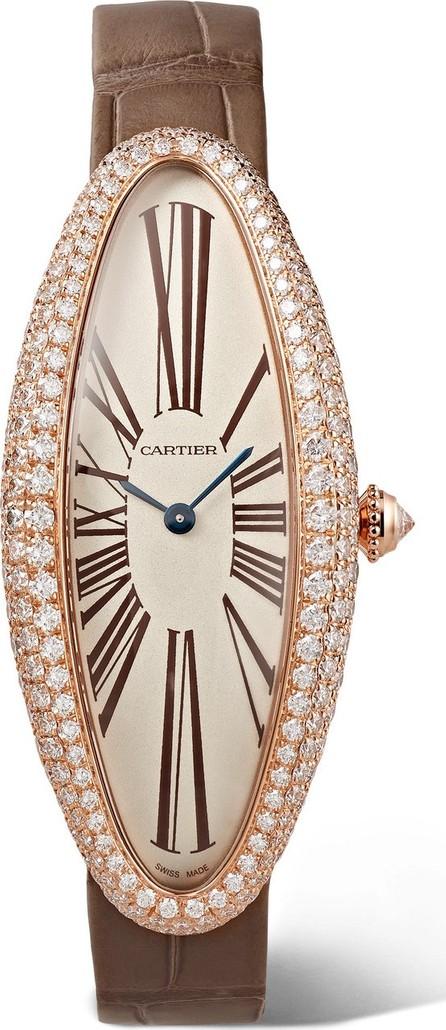 Cartier Baignoire Allongée 21mm medium 18-karat pink gold, alligator and diamond watch