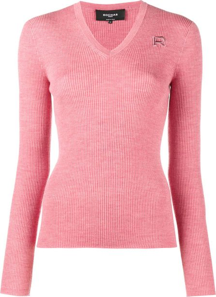 ROCHAS V neck knitted top