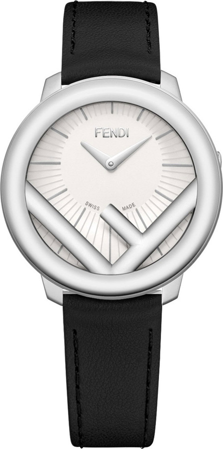 Fendi 36mm Run Away Watch with Leather Strap, Black/Silvertone