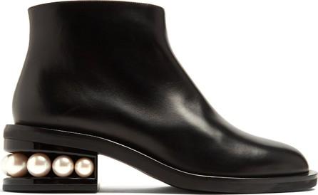 Nicholas Kirkwood Casati faux pearl-heeled leather ankle boots