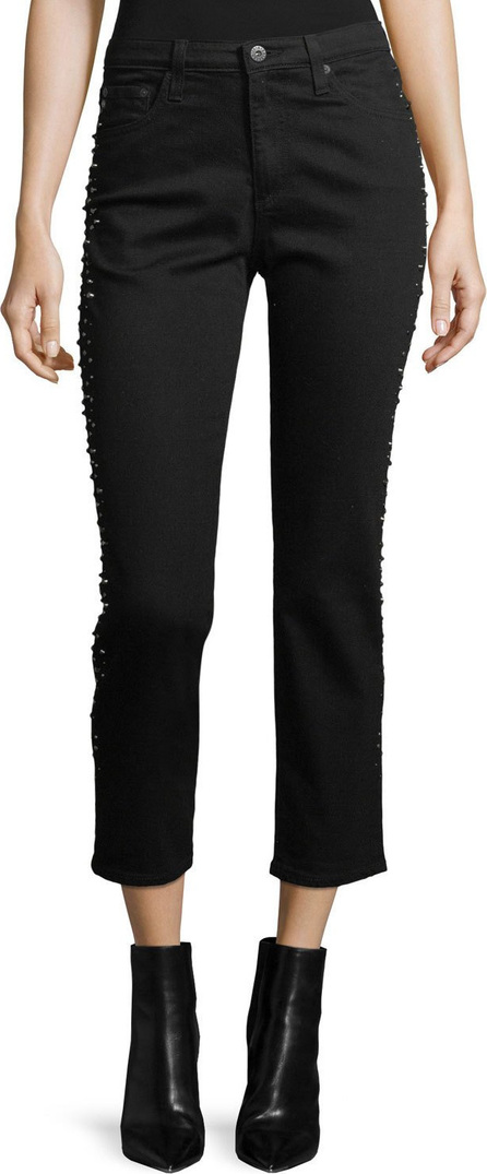 AG Jeans Isabelle Straight-Leg Cropped Jeans with Studded Trim