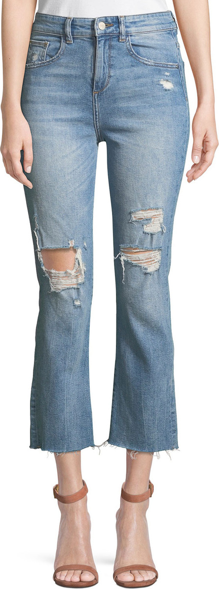 DL1961 Jerry High-Rise Distressed Straight-Leg Cropped Jeans