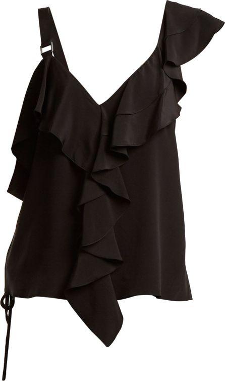 Proenza Schouler Ruffle-trimmed silk crepe de Chine top