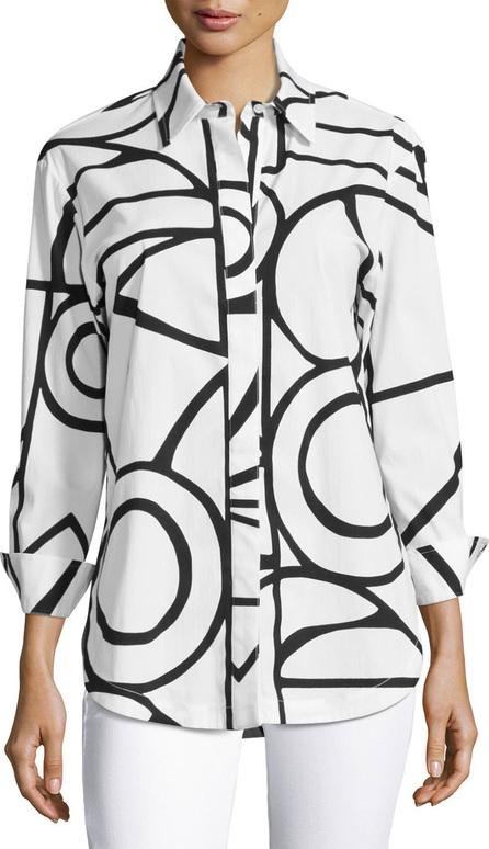 Finley Graphic-Print Blouse, White/Black