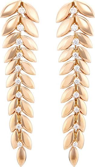 Ferrari Firenze 'Spiga' diamond 18k rose gold vine drop earrings