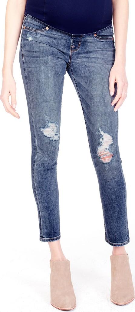 Ingrid & Isabel Maternity Sasha Distressed Denim Skinny-Leg Jeans w/ Crossover Panel