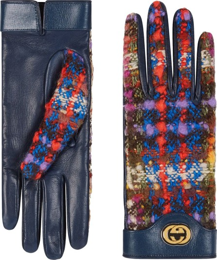 Gucci Tweed and leather GG gloves