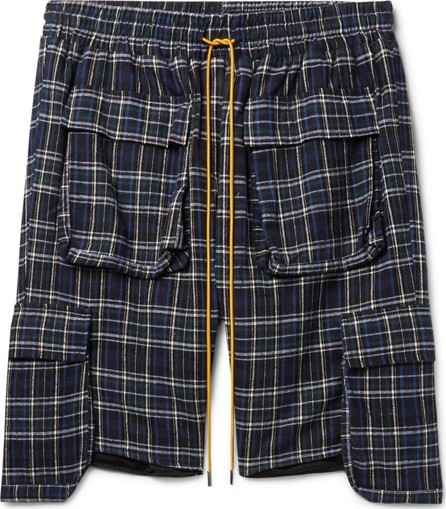 RHUDE Checked Brushed Cotton-Flannel Drawstring Cargo Shorts