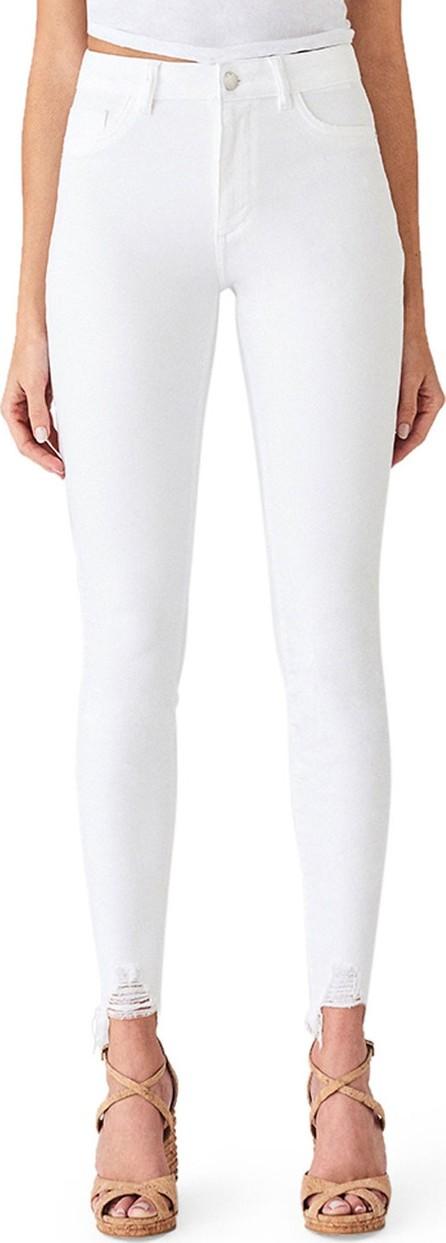 DL1961 Chrissy Ultra High-Rise Skinny Jeans w/ Shredded Hem