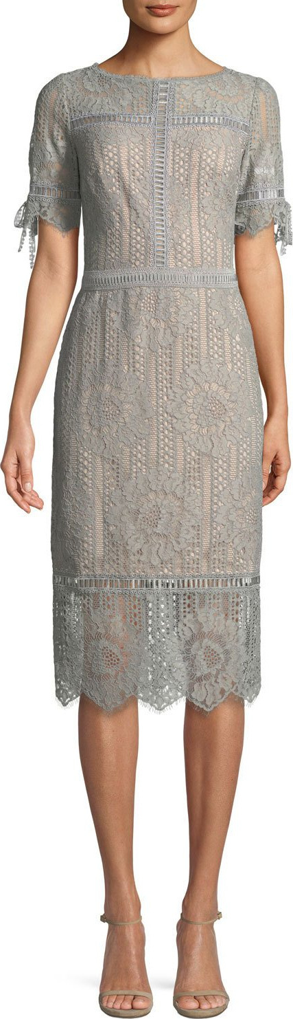 Tadashi Shoji Short-Sleeve Lace Sheath Dress