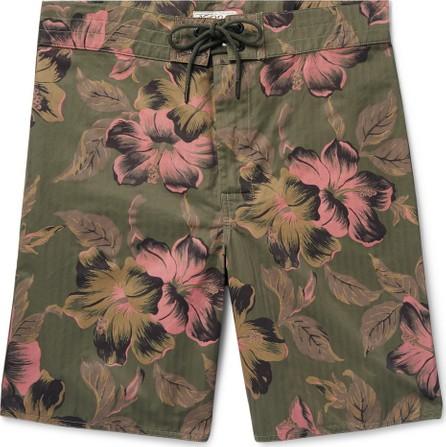 Rrl Long-Length Printed Cotton-Blend Swim Shorts