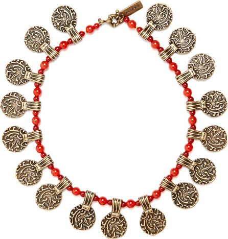 Etro Engraved-pendant beaded necklace