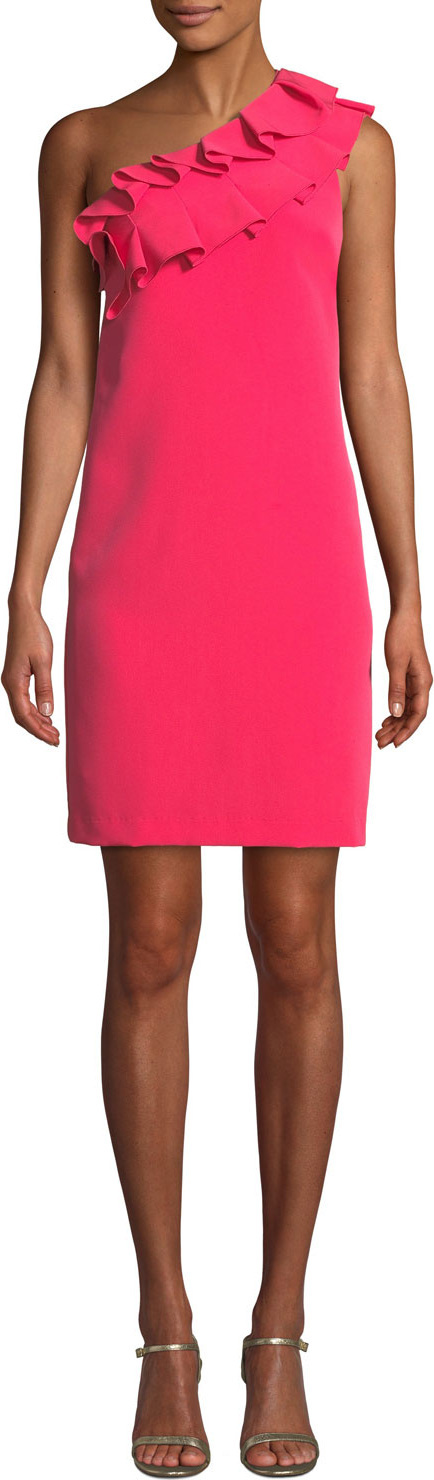 Trina Turk La Cruz Asymmetric One-Shoulder Ruffle Dress