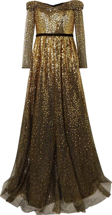 Marchesa Notte Off-the-shoulder velvet-trimmed ombré sequined tulle gown