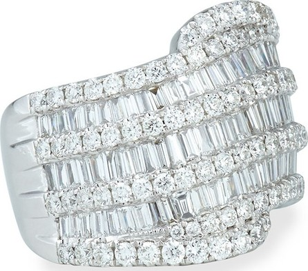 Bessa 18k White Gold Round and Baguette Diamond Ring