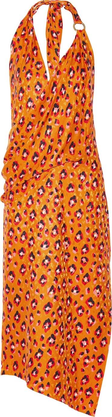 Haney Madison leopard-print silk halterneck dress