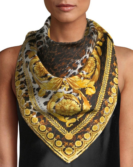 Versace Collection Wild Baroque Silk Scarf