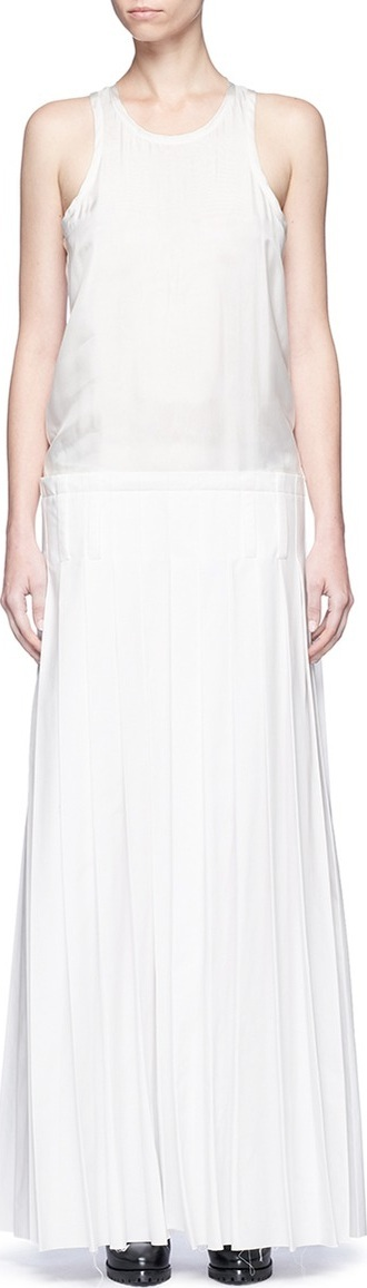 Haider Ackermann Oversized pleated silk satin sleeveless dress