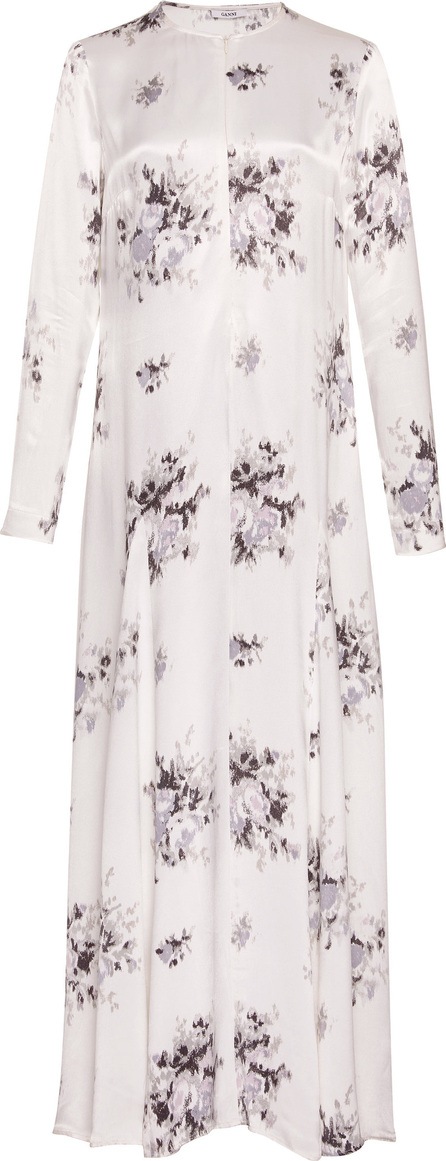 Ganni Cameron Floral-Print Satin Maxi Dress