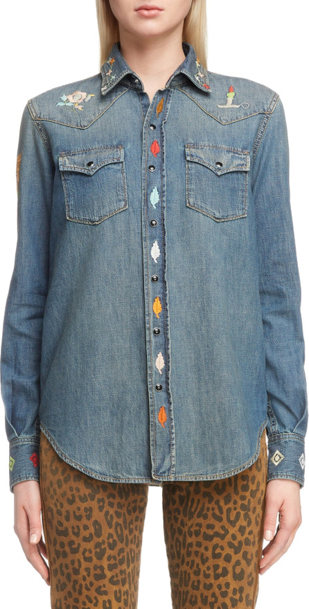 Saint Laurent Embroidered Western Denim Shirt