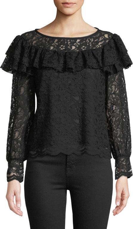 Rebecca Taylor Long-Sleeve Lace Ruffle Top