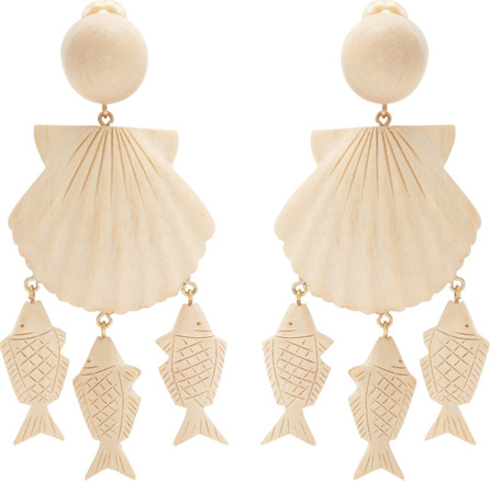 Rebecca de Ravenel Delphine shell and fish-drop clip-on earrings