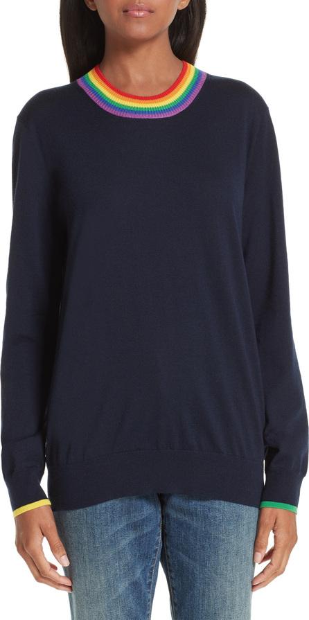 Burberry London England Dales Rainbow Trim Merino Wool Sweater