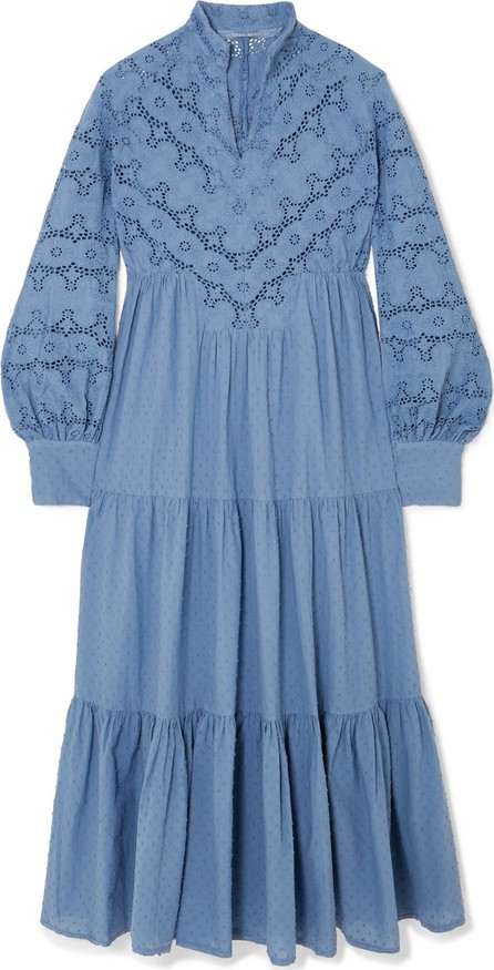 Anna Mason Kristina broderie anglaise and swiss-dot cotton midi dress