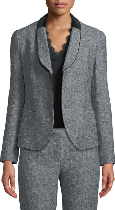 Emporio Armani Single-Breasted Shawl-Collar Tweed Jacket w/ Velvet Half Collar