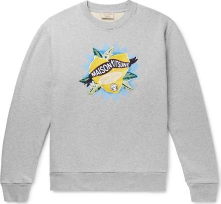Maison Kitsune Embroidered Printed Loopback Cotton-Jersey Sweatshirt