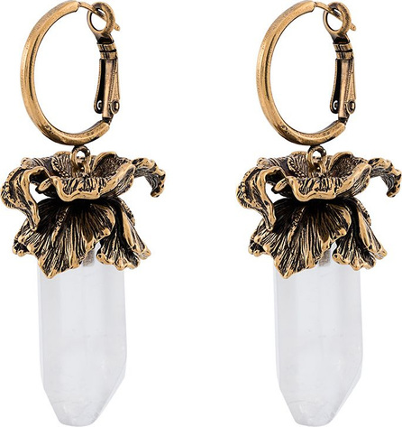 Alexander McQueen Glass brass Iris pendant earrings