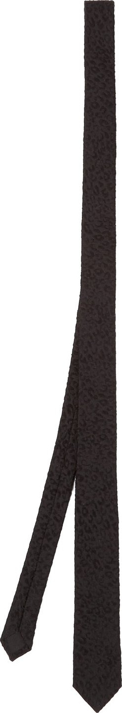 Saint Laurent Leopard-print textured silk tie