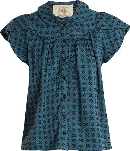 ace&jig Monet ruffle-sleeved geometric-jacquard cotton top