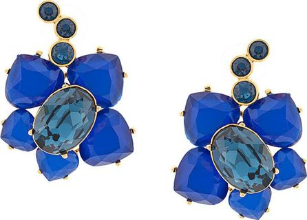 Oscar De La Renta flower pendant earrings