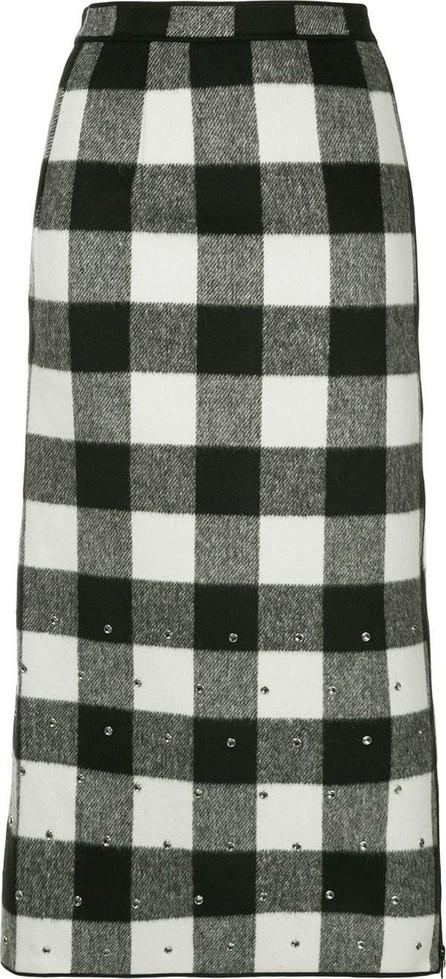 Nº21 Stud detailing check midi skirt
