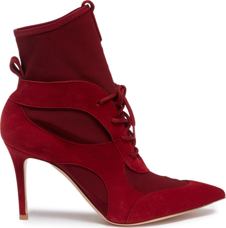 Gianvito Rossi Lace-up caged suede sock ankle boots