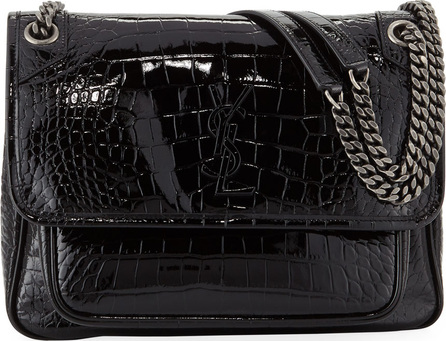 Saint Laurent Niki Medium Monogram YSL Croco Shoulder Bag