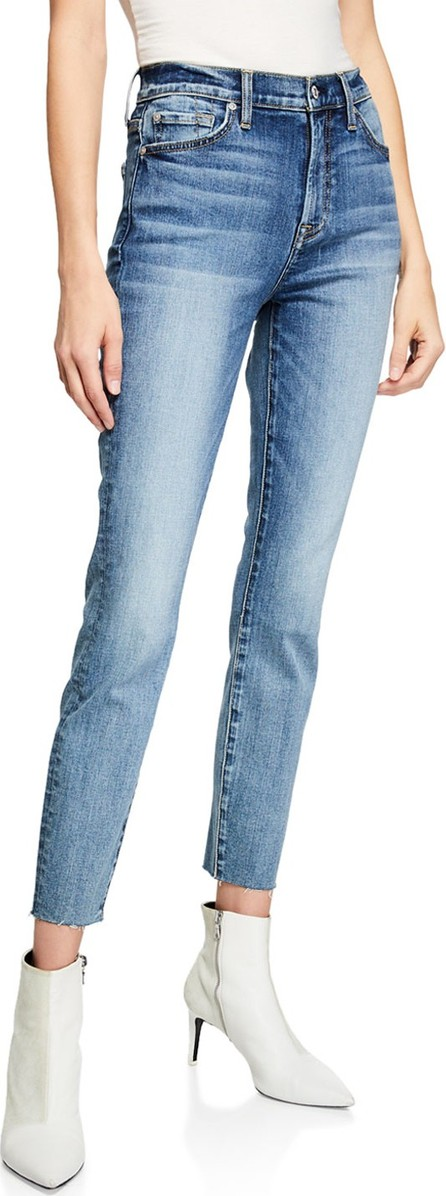 7 For All Mankind High-Rise Ankle Skinny Jeans w/ Cutoff Hem