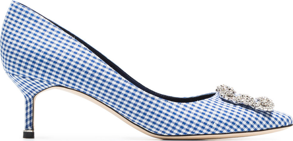 Manolo Blahnik - White and navy Hangisi 50 gingham cotton pumps