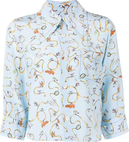 Marni Printed cropped sleeve shirt