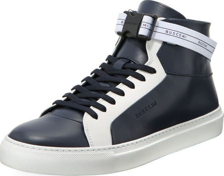Buscemi Men's 100mm Sport Two-Tone Leather High-Top Sneakers with Web Band