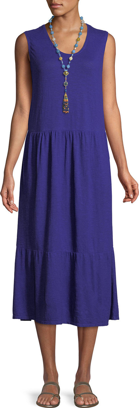 Hemp-Cotton Tiered Midi Dress