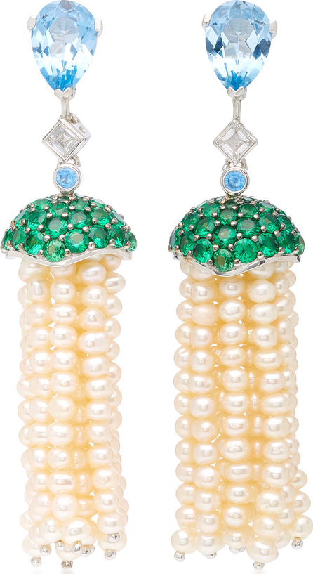 Anabela Chan Blue Topaz Convertible Pearl Tassel Earrings