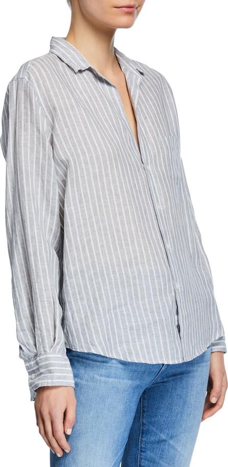 Frank & Eileen Striped Button-Down Long-Sleeve Linen Blouse w/ Patch Pocket