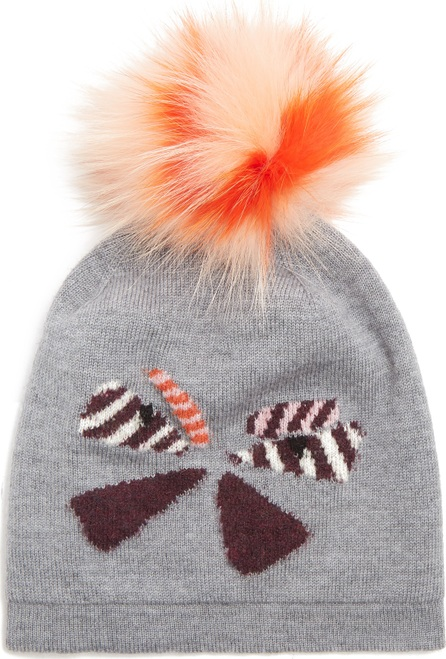 Fendi Butterflyeye fur-pompom wool beanie hat