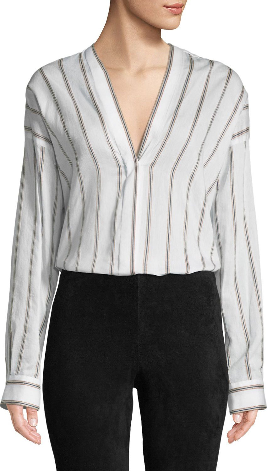 Vince - Textured Striped Long-Sleeve Blouse