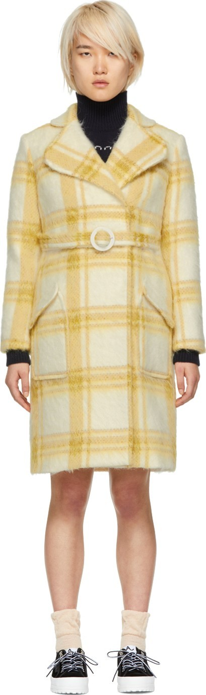 Alexachung Off-White & Yellow Check Mohair Belted Coat