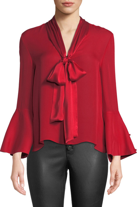 Alice + Olivia Merideth Slit-Sleeve Tie-Neck Top