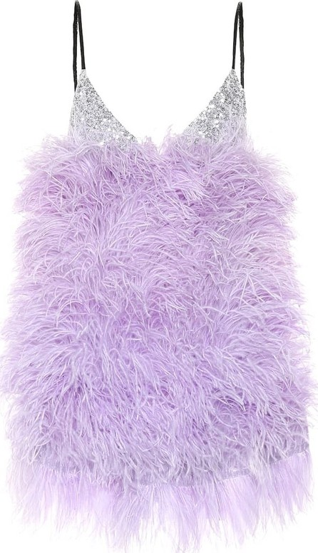 Attico Sequined and feathered minidress