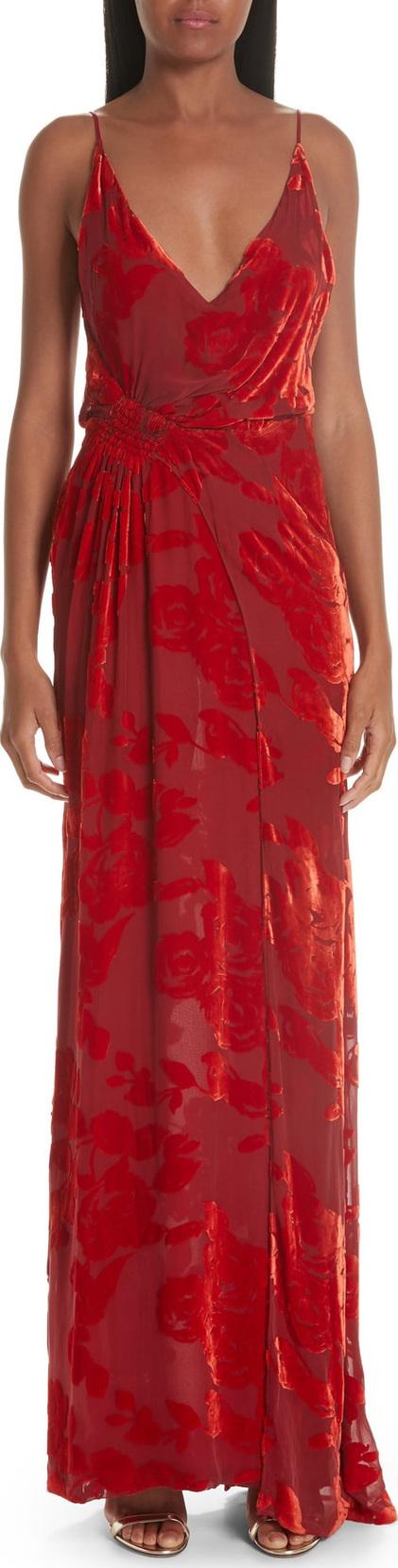Galvan Rose Velvet Devoré Gown
